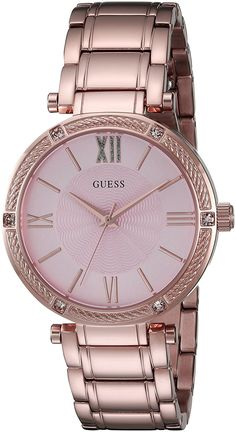 GUESS Women's U0636L2 Feminine Rose Gold-Tone Watch with Light Pink Dial *** Read more at the image link.
