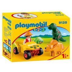 Ga met de Playmobil dino-onderzoeker op pad in de quad. Onderweg kom je reusachtige dieren zoals een T-rex en een Triceratops tegen! Afmeting: verpakking 18,5 x 14 x 7 cm - Playmobil 9120 Dino-onderzoeker met Quad
