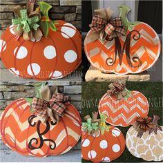 Pumpkin door hanger fall wreath fall door by BowsandBellsHangers