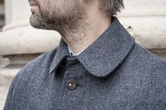 Mid-blue wool-tweed cuff coat.