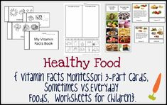 """Healthy Food Pack contains: - Set of 3 - part cards to teach children about the importance of vitamins and healthy food choices. Every card contains information about vitamin benefits and shows pictures of vitamin sources. 8 sets of cards with Vitamin A,B,C,D,E,K,P and Q.  - 10 cards with photo of food for sorting Sometimes Foods Vs. Everyday Foods  - Worksheet for children#1 """"My Vitamin Facts Book"""" for colouring  -Worksheet for children #2 """"Sorting Sometimes Foods and Everyday Foods"""""""