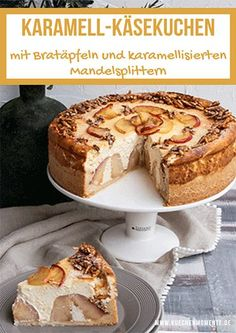 Caramel cheesecake with baked apples- Karamell-Käsekuchen mit Bratäpfeln Creamy cheesecake with a fine caramel note, filled with baked apples and decorated with caramelized almond slices and fried apple slices. Cupcake Recipes, Snack Recipes, Cheesecake Caramel, Raclette Originale, Toffee Bark, Fried Apples, Cinnamon Cream Cheese Frosting, Caramel Recipes, Creamy Cheese