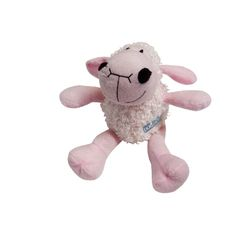 Plush Curly Lamb Puppy Squeaky Toy - Pink