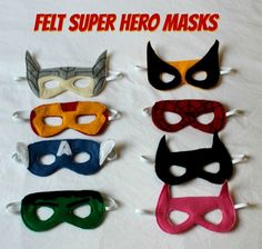 Felt Superhero Masks - sure to delight your little superhero! This step by step tutorial includes both sew and no-sew directions for Iron Man, Captain America, Hulk, Thor, Wolverine, Batman, Batgirl, and Spiderman masks.