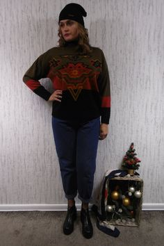 This is a spectacular vintage sweater. company on the label : opus 1 acrylic , wool made in Denmark SIZE XL : arms - 62 cm waist - 62 cm length - 76 cm sleeves from underarms - 48 cm Vintage Sweaters, Underarm, Vintage Outfits, Normcore, Hipster, Pullover, Wool, Sleeves, How To Make