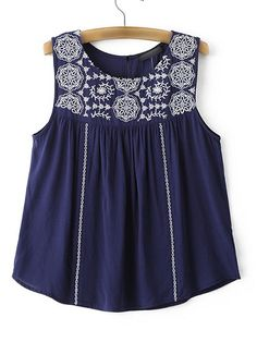 SheIn offers Navy Embroidered Sleeveless Blouse & more to fit your fashionable needs. Spring Outfits, Girl Outfits, Western Outfits Women, Fancy Tops, Kurti Designs Party Wear, Traditional Fashion, Stylish Dresses, Casual Tops, Sleeveless Blouse