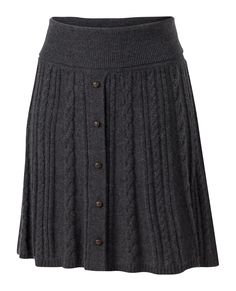 This intrigues me. Its 45 pounds so $72, wool, acrylic and cotton. I'm... intrigued.  Large image of Kelly Cable Knit Skirt - opens in a new window