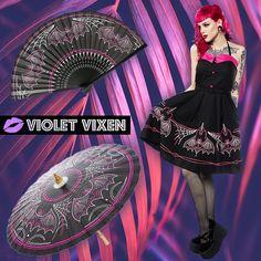 169d71941718 The Batty Pinstripe Collection includes a dress, a fan, a sun parasol and  2. Violet Vixen