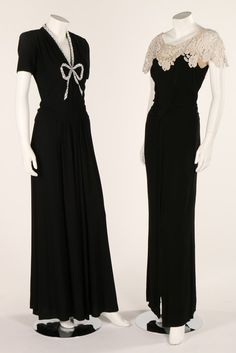 Black and white evening wear, 1940s. comprising a black crepe dress with chemical lace sleeves and neckline, another with large beaded bow motif