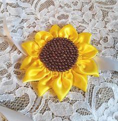 Sunflower Headband, Satin Headband, Sunflower Yellow Headband Sash, Bronze Pearls Headband, Flower Girl, Bridesmaid,  Bridal , Wedding
