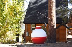 Bobber Propane Tank- an unusual shape, but great theme for lake or sea front properties. Metal Yard Art, Metal Art, Propane Tank Art, Lake Garden, Office Themes, Cottage Style Homes, Tank Design, Beach Cottages, Backyard