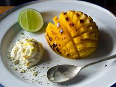 Grilled mango with shrikhand