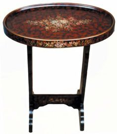 """Wooden side tray table - 'Sterling Rose' design by Reorient. $79.00. Made in China. Use as a side table, accent table, tray. Rich 'Sterling Rose' design, burgundy background, delicate floral center. Size: 20"""" x 13"""" x 24"""". Minor assembly required. The deep burgundy hue looks like rose petals, the floral motif painted in the center has an antique quality reminiscent of Victorian embellishments.  The table is painted entirely by hand, from top to bottom.  It is useful as a small sid..."""