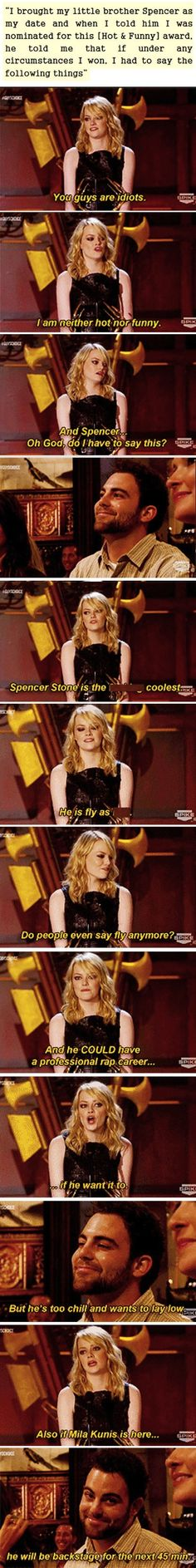 omigosh i died. emma's reaction to receiving the hot and funny award