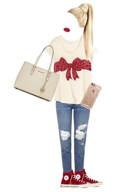"""Christmas Style"" by natznatynatz ❤ liked on Polyvore featuring Topshop, Converse, MICHAEL Michael Kors, Casetify, women's clothing, women, female, woman, misses and juniors"