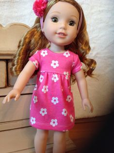 Pink flowered knit dress for Wellie Wisher or by NanaRaindrop