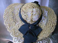 Straw Picture Hat Grosgrain Ribbon Embellishment by Emmetswyfe, $75.00