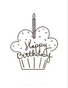 Happy Birthday Doodles, Happy Birthday Hand Lettering, Happy Birthday Drawings, Happy Birthday Cards Handmade, Birthday Card Drawing, Happy Birthday Cupcakes, Cute Happy Birthday, Birthday Cards For Friends, Happy Birthday Images
