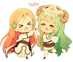 Chibi Orihime and Chibi Neliel by DAV-19.deviantart.com on @deviantART