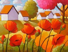 Cottage floral landscape artwork, Garden poppies art print giclee, 5x7 Folk art country red flowers wall decor by artist Cathy Horvath. A picture to brighten your home or give as a gift. ____________________________________________________________ TITLE: Landscape With Poppies SIZE: