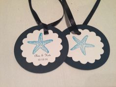 Customized starfish tags to attach to your favorite favor. Navy and white - other color combinations available.  www.thefinaltouchevents.com