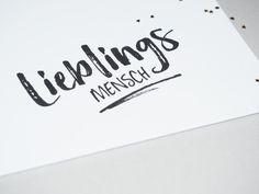 Liebe & Freundschaft - 2er Set Postkarte Liebeserklärung LIEBLINGSMENSCH - ein Designerstück von gluecksschauer bei DaWanda Diy Cards Design, Hand Lattering, Brush Lettering, Line Art, Scrapbook, Album, Inspiration, Etsy, Bullet Journal
