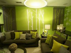 Find This Pin And More On Pintura. Green Living Room ...