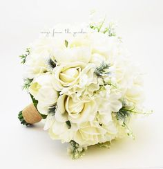 Winter Wedding Grey & White Bridal Bouquet Real Touch Roses Hydrangea Peonies Lily of the Valley Dusty Miller