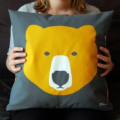 Image of Gold Bear, Silver Bear cushion
