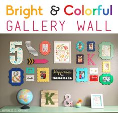 Bright & Colorful Gallery Wall - I love all the different shapes and colors of these whimsical frames! So fun!