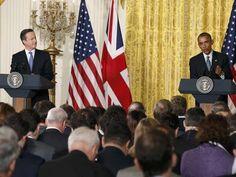 David Cameron e Barack Obama concedem coletiva de imprensa nesta sexta-feira (16) na Casa Branca