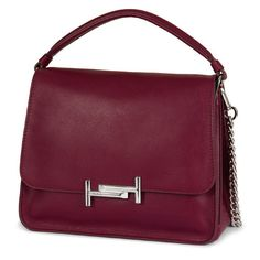Tod's - Tod's Medium Double T Crossbody Bag (3 000 AUD) ❤ liked on Polyvore featuring bags, handbags, shoulder bags, burgundy, vintage handbags, chain purse, purple crossbody, purple crossbody purse and vintage cross body purse