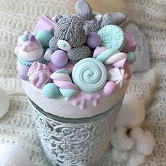 Polymer Clay Cupcake, Polymer Clay Kawaii, Polymer Clay Flowers, Fimo Clay, Polymer Clay Charms, Polymer Clay Creations, Polymer Clay Art, Polymer Clay Jewelry, Clay Jar