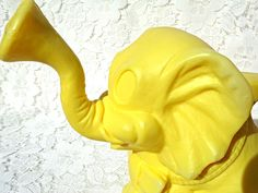 Retro Elephant Watering Can Sprinkle Trunk Vtg Molded Yellow Plastic Ohio Art #OhioArt