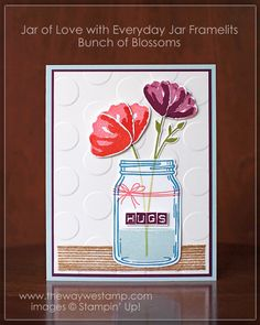 by Julie: Jar of Love bundle, Bunch of Blossoms bundle, Labeler Alphabet, Burlap ribbon - all from Stampin' Up!
