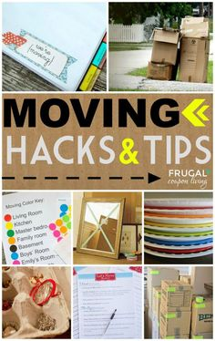 Top 50 Moving Tips and Hacks  for your home relocation or new house ideas. Details and Round-Up on Frugal Coupon Living.