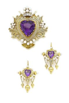 A cultured pearl, amethyst and diamond-set pendant/brooch and earring suite (2)