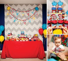 "Dr. Seuss birthday party (and have guests sign ""Oh the Places You'll Go"" as her 1 year birthday book)"