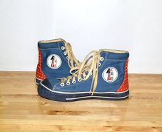 Vintage Canvas Sneakers Blue With Red / Size 41/42 by MySunnyStore, $150.00