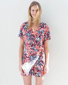PALM TREE CROSSOVER DRESS