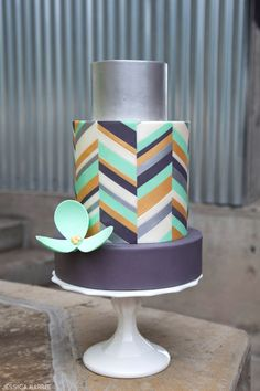 love the offset chevron and silver! | Metallic Chevron Cake by Jessica Harris