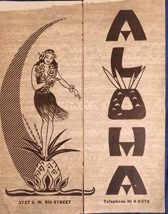 Vintage restaurant menu with Hula Girl