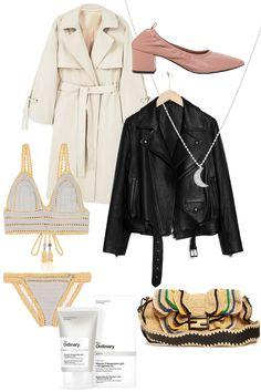The Ordinary Vitamin C Serum, Trench coat, Ballerina Pumps, She Made Me Crochet bikini, Leather jacket, Fendi Baguette Wave bag - teetharejade.com
