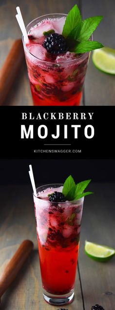 Blackberry mojito recipe made with fresh muddled mint limes and blackberries.