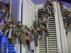 Primitive Country Grungy Tattered  Rag Garland by RustyNest, $17.99