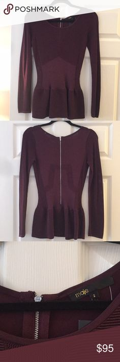 Maje burgundy top Worn once. Perfect condition. Maje Tops