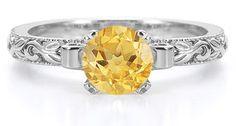 ApplesofGold.com - 1 Carat Art Deco Citrine Engagement Ring, 14K White Gold applesofgold.com #applesofgold.com @Holly Manns.com