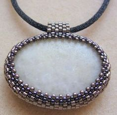 Gravel inclusion of peyote technique (beading)- tutorial for simple, easy beaded bezel- no measuring required! :)