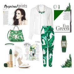"""green trend"" by agnesmakoni ❤ liked on Polyvore featuring Dolce&Gabbana, Glamorous, BCBGMAXAZRIA, White House Black Market, Peugeot, Bling Jewelry, tropicalprints and hottropics"