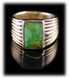 Mens Rings Gold with natural Orvil Jack Turquoise from Nevada by Dillon Hartman